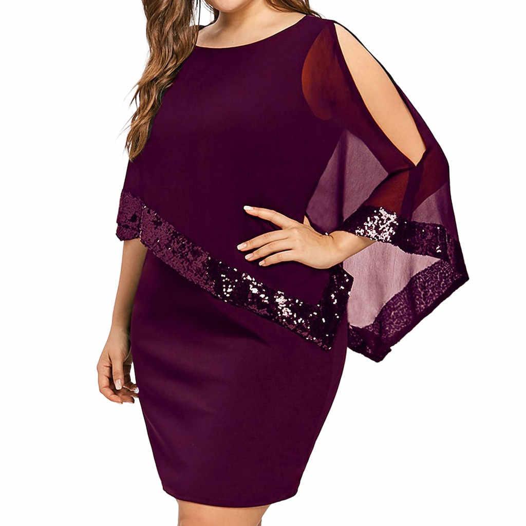 summer dress Women Plus 5XL Large Size Cold Shoulder Overlay Asymmetric Chiffon Strapless Sequins mini party Dresses robe femme