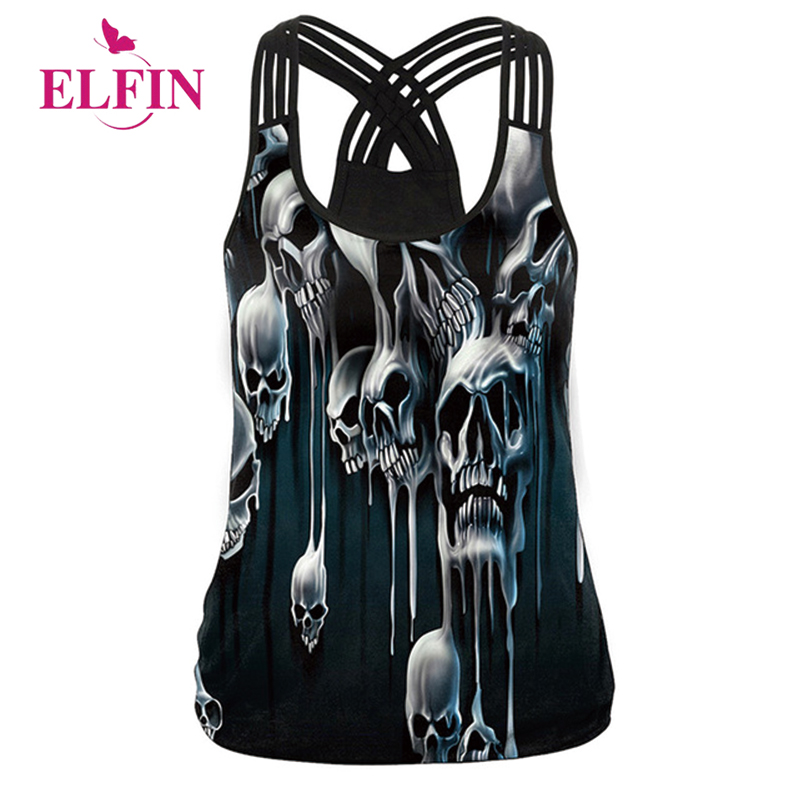 Women Summer Tank Tops 2018 Sexy Vests Hollow Out Tops 3D Skull Print Camisole Punk Clothing WS7410R