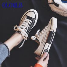 OLOMLB 2019 Canvas shoes women Lace-up Sneakers Shallow Swei