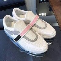 Роскошная повседневная женская обувь Летние удобные сетки кожа Туфли без каблуков женские Сникеры на платформе Chaussure Femme Дизайнерская обув
