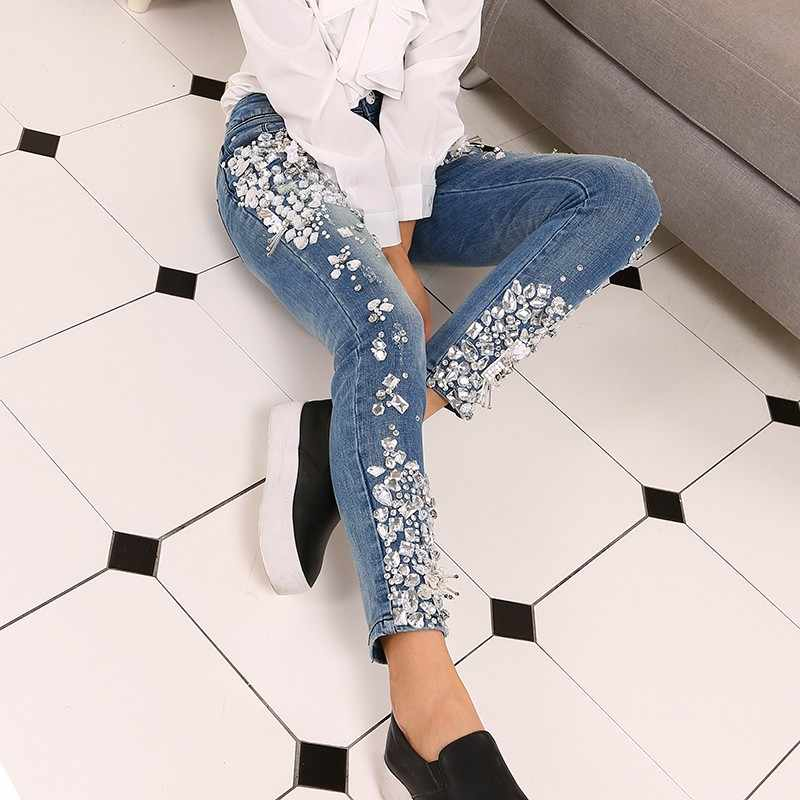 Fashion Vintage Plus Size Women Luxury Embroidered Flares Diamond Denim Jeans Women Beaded Skinny Slim Fit Stretch Pencil Pants