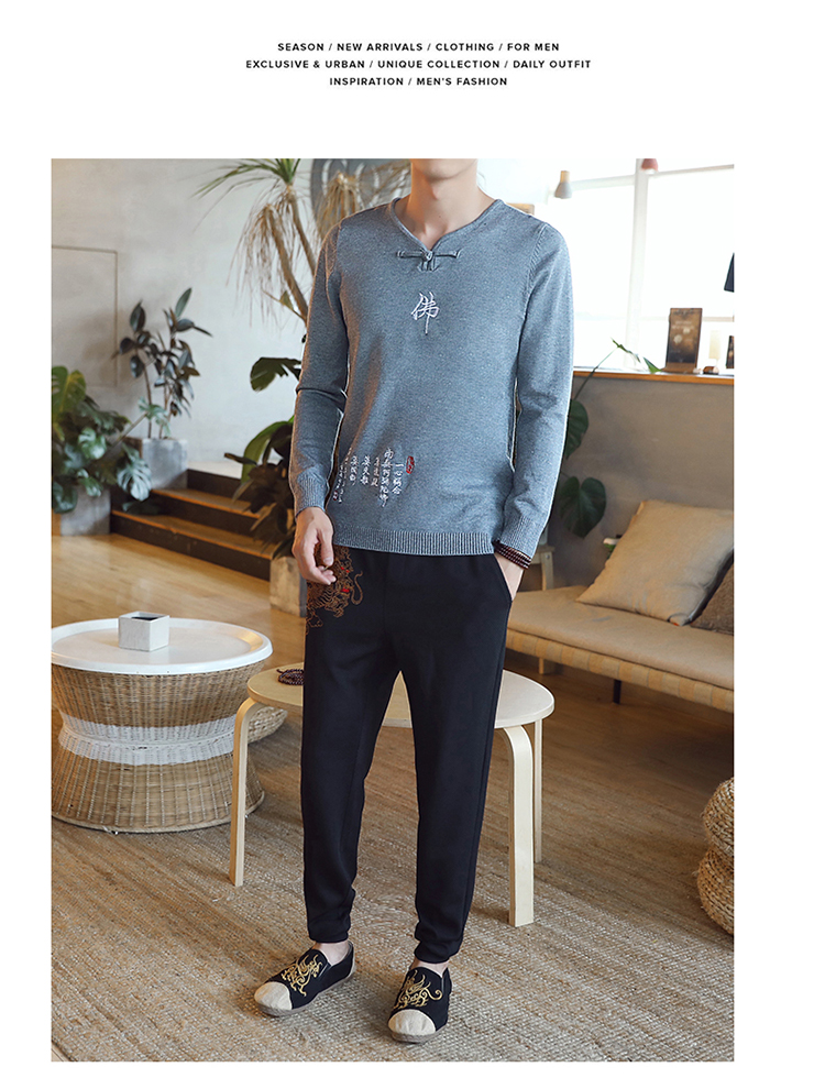 Chinese style Buddha embroidery Pull Homme Pullover Men spring autumn Casual sweater knit leisure Jersey Hombre Cotton v-neck 77