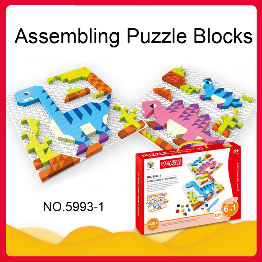 DOLLRYGA Building Blocks Jouet Enfant City DIY Creative Bricks Set Cartoon Dinosaur Educational Kids Toys Compatible All Brands
