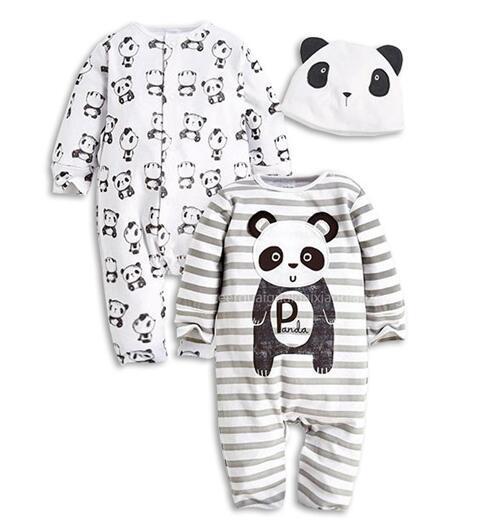 2016 Novo 3 Pçs/set (2 Macacão + Chapéu) Macacão de Bebê Outono Inverno Conjunto de Roupas de Bebê de Alta Qualidade Dos Desenhos Animados padrão Macacão para Recém-nascidos