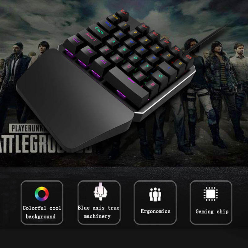 Singlehanded Wired Gaming Keyboard LED Backlight 35 Keys Keypad for Dota OW PUBG Game QJY99