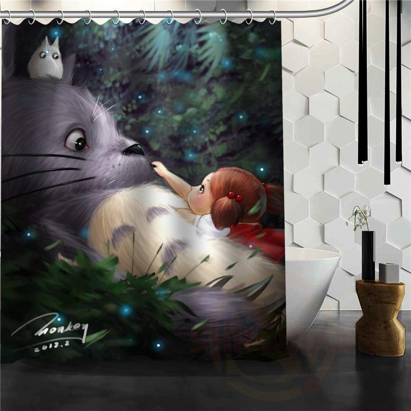 Hayao Miyazaki Cartoon Anime Totoro Duschvorhang Klassische Muster  Benutzerdefinierte Bad Vorhang Stoff Polyester Wasserdicht Gardinen(