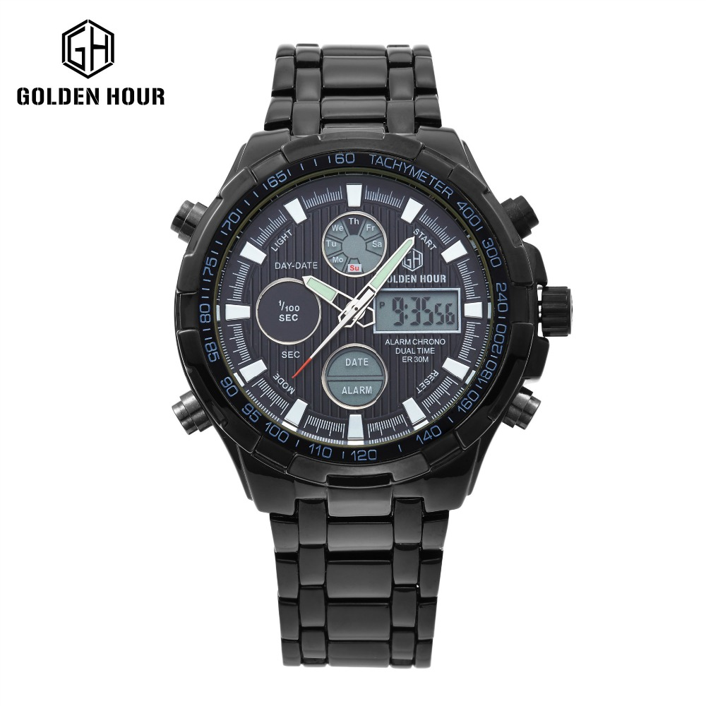 Hot Stainless Steel All Black Watch Men watch Analog Digital Alarm Display 3 ATM Water Resistant relojes deportivos hombres relojes full stainless steel men s sprot watch black and white face vx42 movement