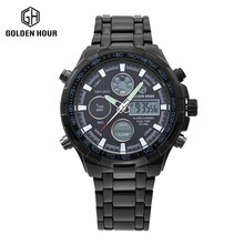 Hot Stainless Steel All Black Watch Men watch Analog Digital Alarm Display 3 ATM Water Resistant relojes deportivos hombres