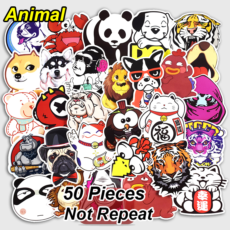 Mixed 50 PCS Animal Sticker Laptop Toy Home Decor Vinyl Decals Car Styling Luggage Fridge JDM Doodle Cute Stickers Not Repeat
