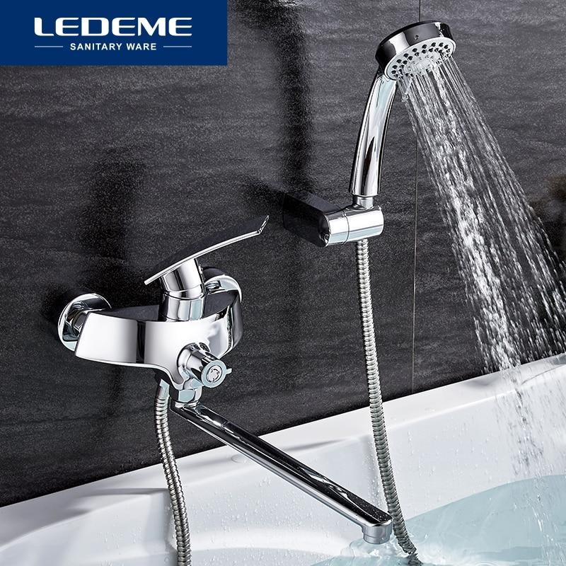 LEDEME Bathroom Shower Faucet Set Brass Bathtub Shower Faucet Bath Shower Tap Chrome Plated Shower Head