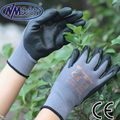 Nmsafety mais barato 13 gauge nylon nitrílica palma mergulhado luvas de proteção respirável, luvas de trabalho do homem