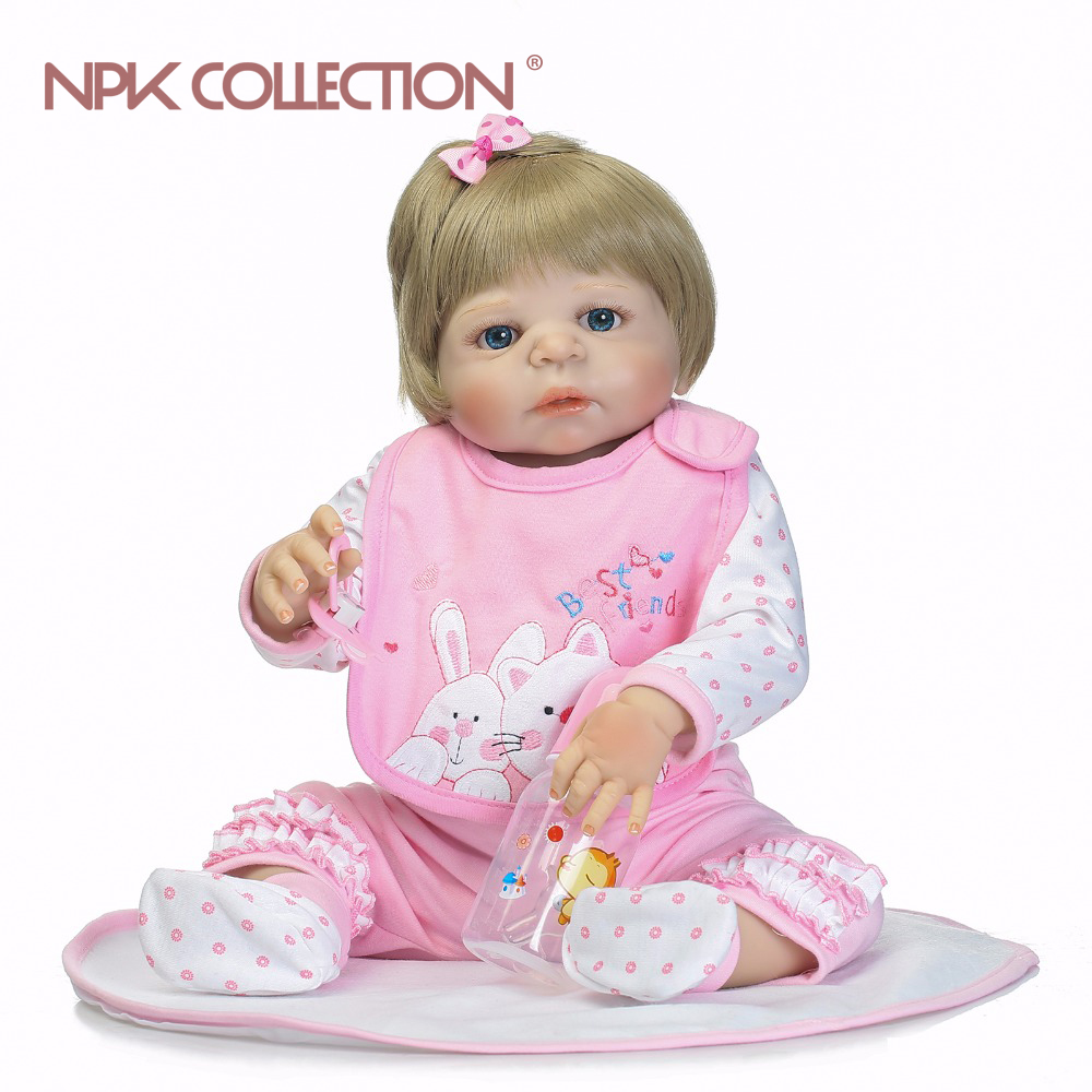 NPK full silicone  reborn baby  girl dolls soft silicone vinyl real gentle touch  bebe new born real baby Christmas Gift 23 russian silicone reborn baby girl full body vinyl dolls touch real baby dolls lifelike real hair new 2017 kids playmates