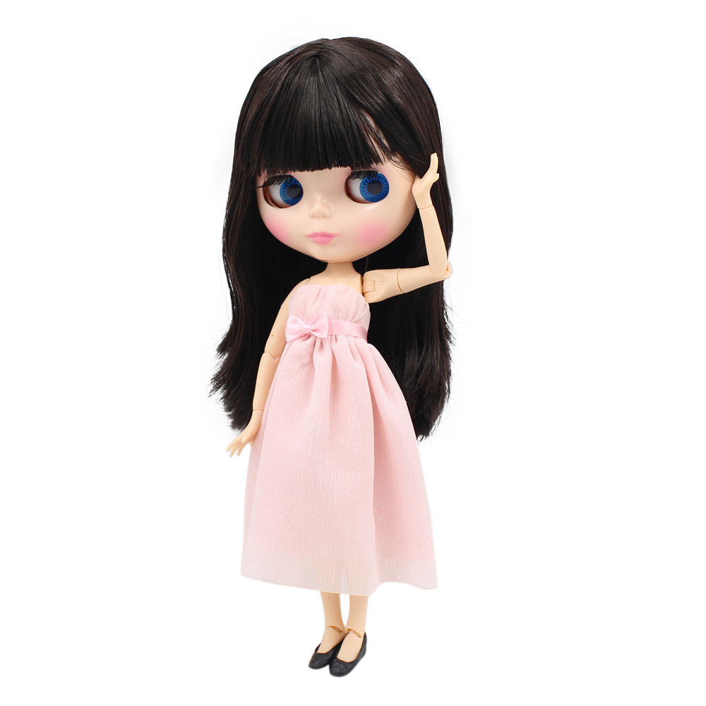все цены на Free shipping factory blyth Doll bjd neo 180BL0312 long dark brown straight hair with bangs/fringes JOINT body 1/6 Toy Gift