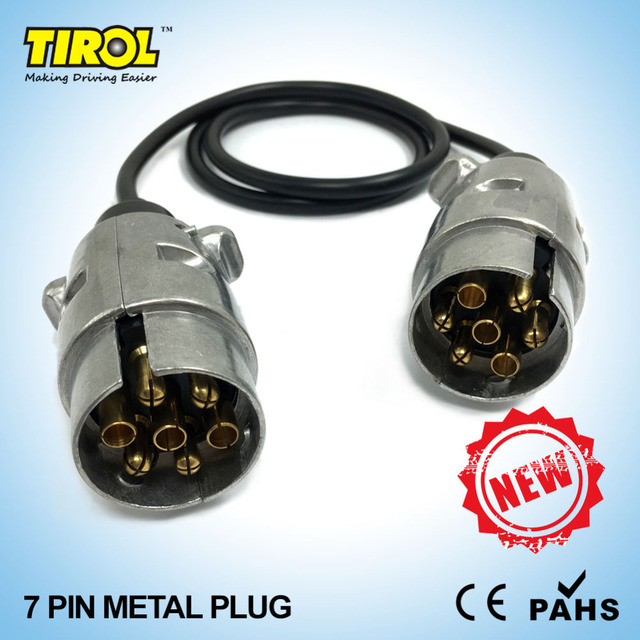TIROL 7 Pin Metal Plug Trailer Wiring Cable Connector 12N type 2 x 7 ...