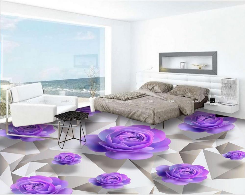 3d floor wallpapers purple roses romantic bathroom bedroom for Waterproof wallpaper for bedrooms