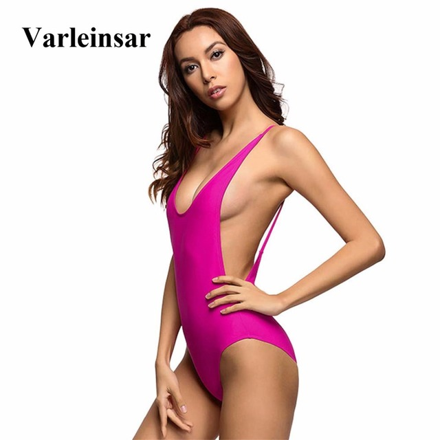 469265e9d3086 Bather 2019 V neck Pink Sexy Low Cut Scoop Back one piece swimsuit Backless  female Swimwear