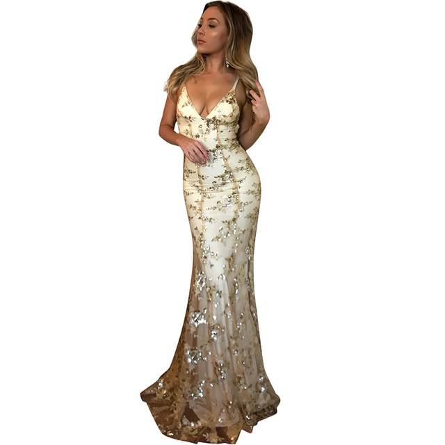 2019 New Sexy Women Sequined Maxi Dress Floor Length Sequins Backless  Sleeveless Slip Dress Bodycon V Neck Strappy Party Dress 0dfd42786791