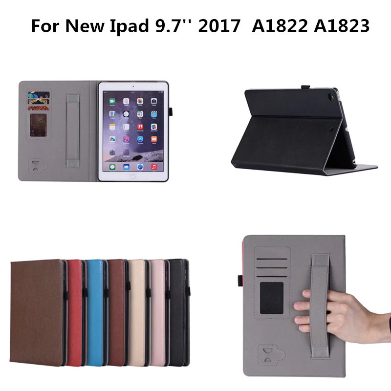 Premium PU Leather Smart Case Cover for New iPad 2017 9.7 A1822 A1823 Stand Case with Hand Strap Case +Card Slots Pocket