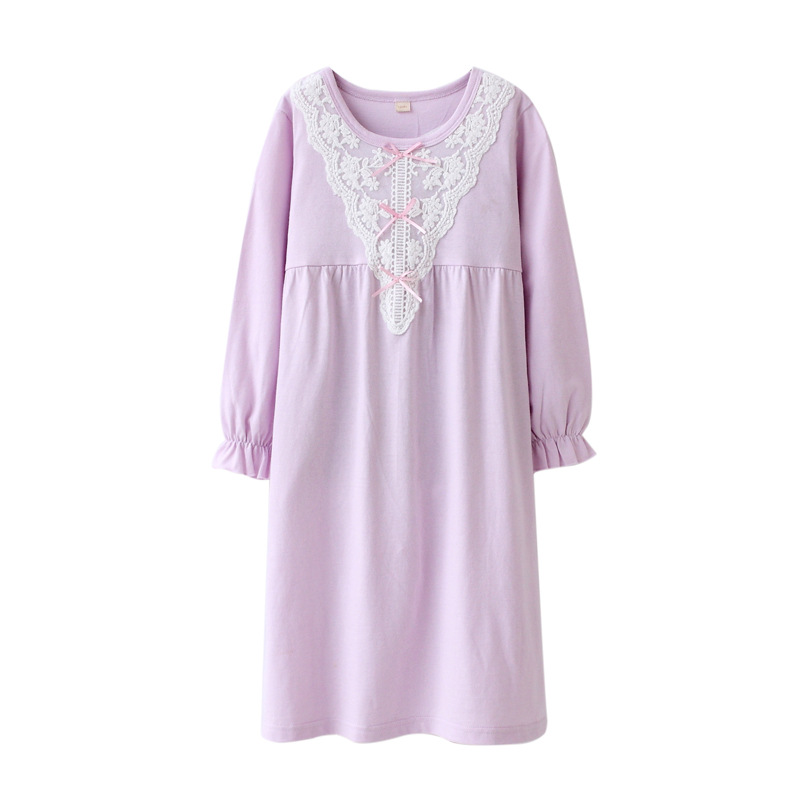 5faf1b0e0 2018 Floral Girls Sleepwear Dress Cotton Lace Pajamas For Girls ...