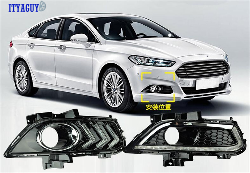 Driving Daytime Running Fog Lamp Light For MONDEO 2013-2016 LED DRL Waterproof cover for mondeo 2013 2016 led drl driving daytime running day light waterproof fog lamp light cover car accesories