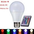 RGBW СВЕТОДИОДНЫЕ Лампы E27 5 Вт Lampara СВЕТОДИОДНЫЕ Лампы RGB Soptlight 85-265 В Энергосбережения Изменение Цвета С ИК-Пульт Дистанционного DALLAST