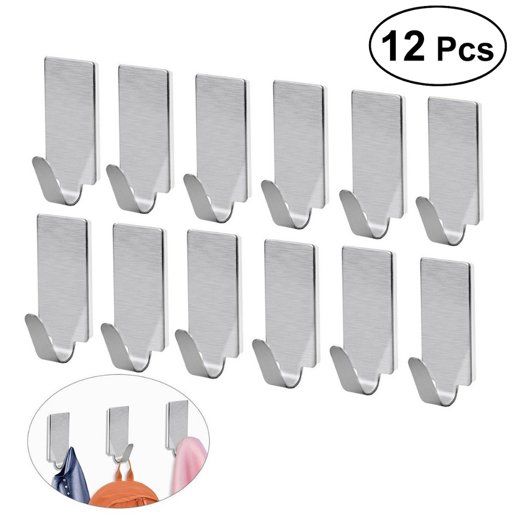 12pcs Adhesive Stainless Steel Bathroom Wall Hanger Stick On Adhesive Robe Towel Family Robe Hooks Bathroom Accessories