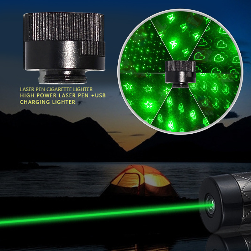 1PC  6 In 1 Laser Pointer Caps Flashlight Converter Head Light Refraction Head For Laser 303 Black Laser Pen Point
