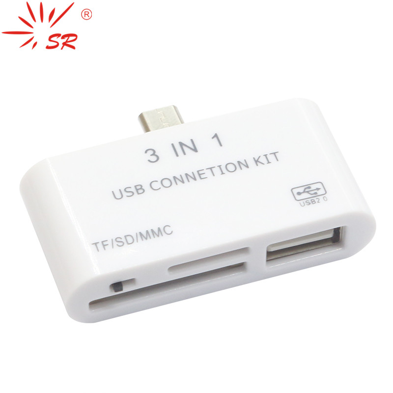 SR TF/SD/MMC 3 In 1 Smart OTG Memory Card Reader For Computer Desktop Cellphone For Samsung Free Shipping