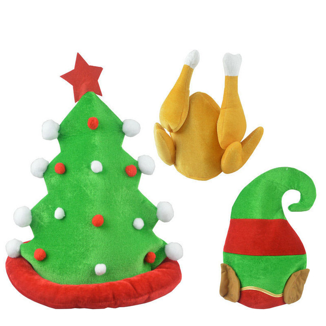89ceada5f47dc Funny Plush Turkey Hat Drumsticks Cap Green Christmas Tree Elf Hat Family  Party Photo Props Thanksgiving