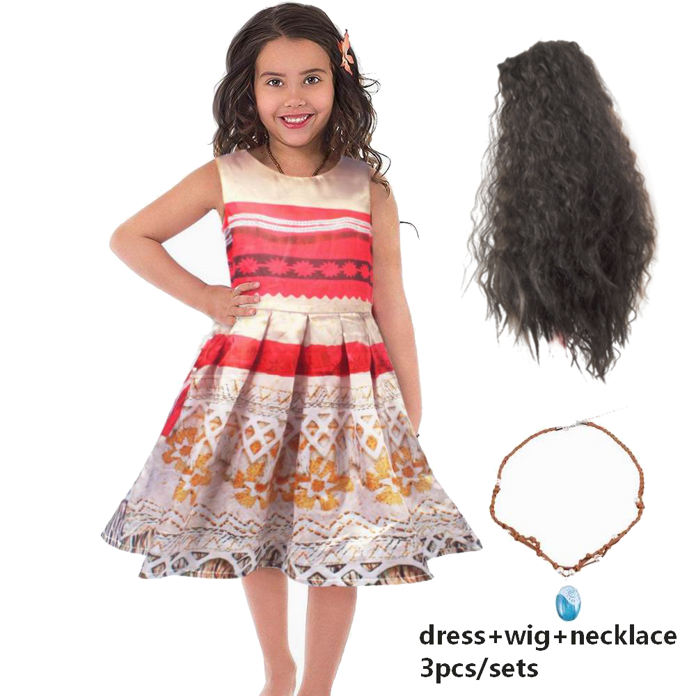 Girls Dress Moana Cosplay Costumes Dresses For Girls Brand Dresses+Necklace+Wig 3pcs Kids Girl Party Halloween Christmas Dress devil may cry 4 dante cosplay wig halloween party cosplay wigs free shipping