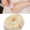 New Fashion Small Gold Buckle Inlaying Rhinestone Pearl Elastic Belt Women's Strap Female Accessories Dress