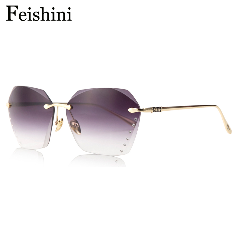 FEISHINI Superstar Artificial Crystal Embellishment Brand Luksus 2019 Rimless Solbriller Women Gradient Vintage UV Protection