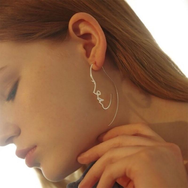 Minimalist Abstract Art Face Long Earrings For Women Zinc Alloy ...