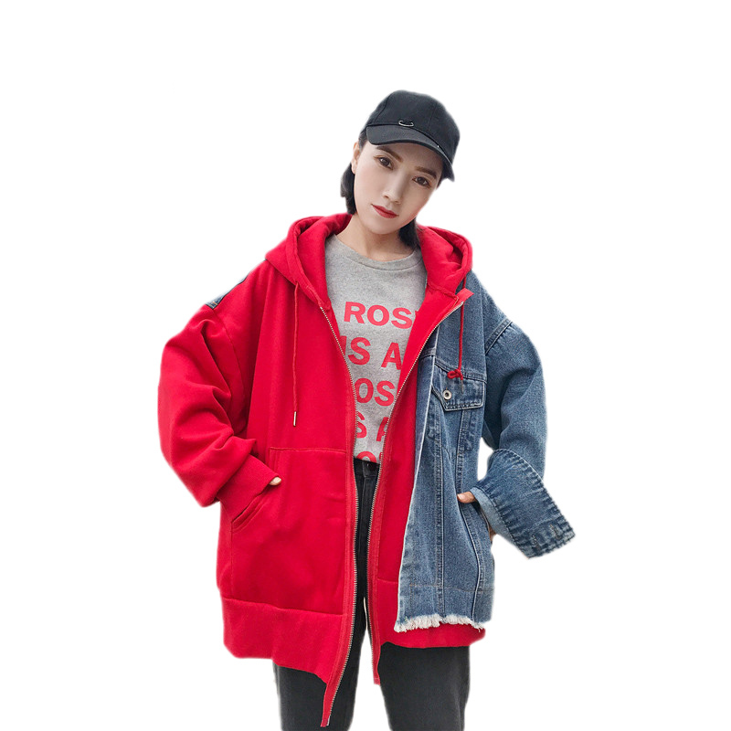 Spring Women Denim Jacket Fashion Splice BF style Fake two piece Hooded Casual Outerwear Large size