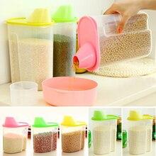 1.8/2.5L Transparent Plastic food storage Box grain Container Kitchen Organizador Tools