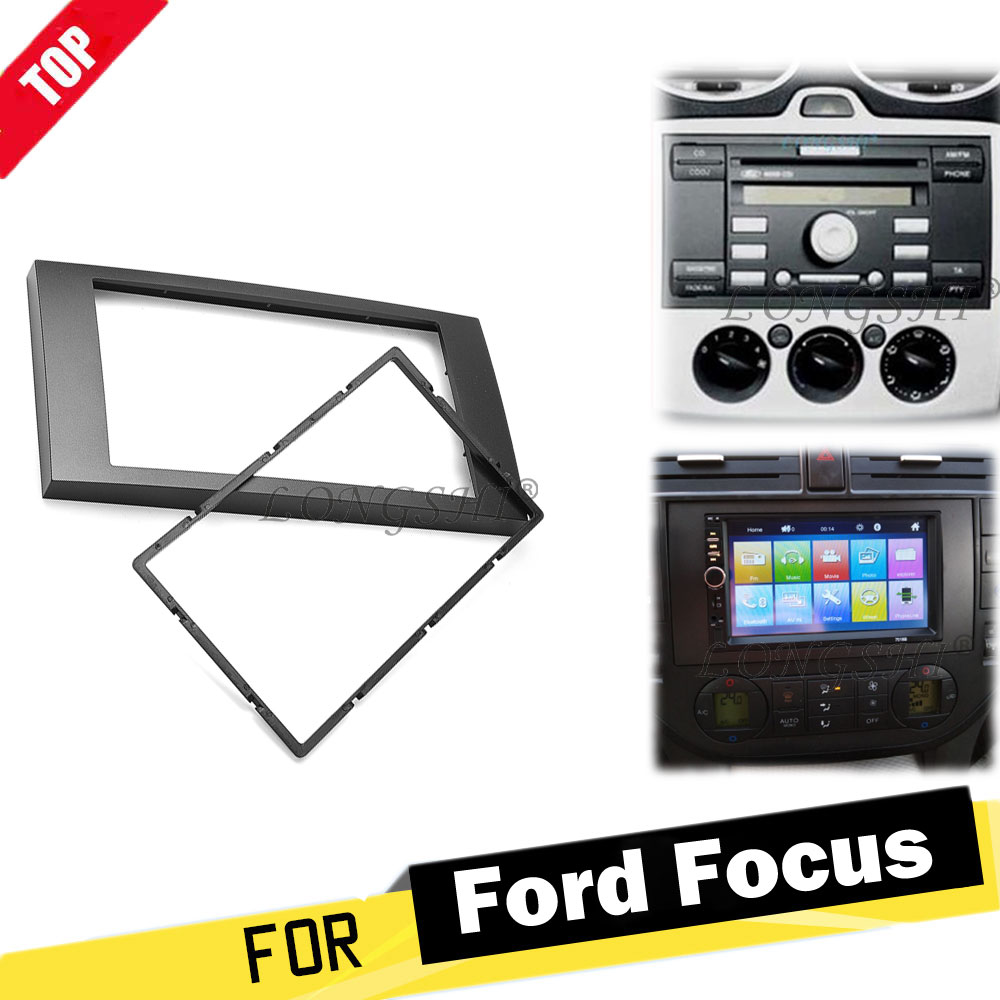 2 DINCar วิทยุสำหรับ FORD Focus II C-MAX S-Max FUSION Fiesta ชุด 2005-2011 ชุดติดตั้งอะแดปเตอร์ Dash Mount Trim แผง 2 DIN