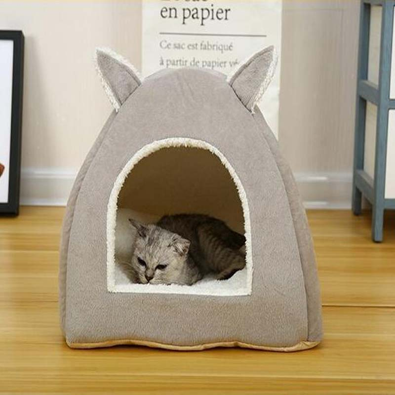 Eco-friendly Cat Bed Lounge Sleeping Bag With Removable Mattress Warm Soft Foldable Pet House Tent Cat Nest Litter Puppy Kennel