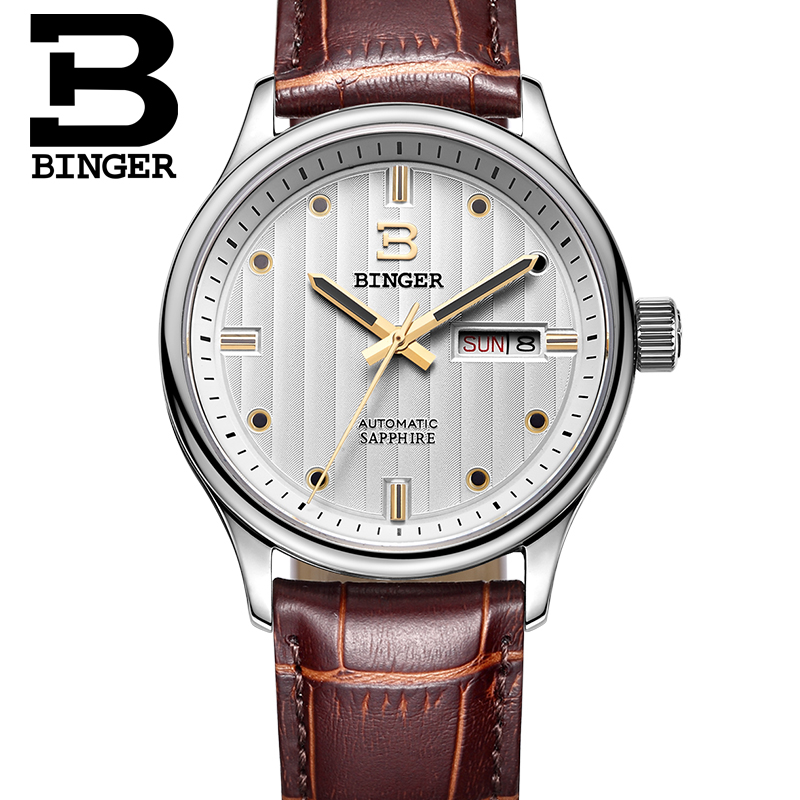 Business Clock BINGER Luxury Brand Watches Automatic Watch Mechanical Movement Leather Strap 30m water resistant relogio masculi