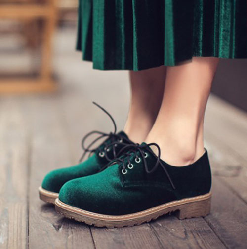 ad23585f949 US $45.6 |velvet oxford brogue lace up women casual shoes Fashion lady  round toe office career work dress shoes -in Women's Flats from Shoes on ...