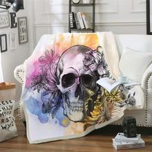 цена Sugar Skull Collection Blanket for Adults Microfiber Floral Plush Sherpa Throw Blanket on Sofa Gothic Bedding онлайн в 2017 году