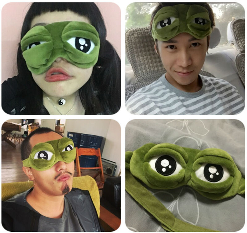 HOT Sad frog 3D Eye Mask Cover Sleeping Funny Rest Sleep Anime Accessories Gift Free shipping image
