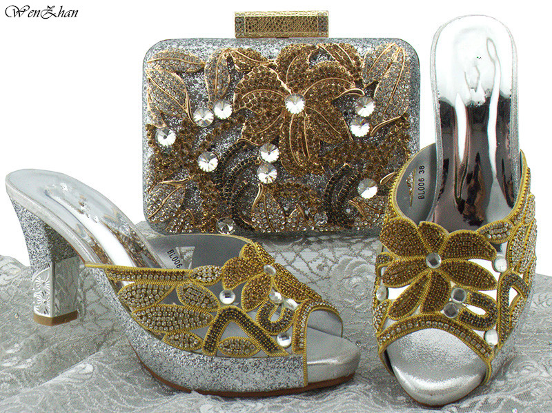 Latest Party High Heel Shoes And Bag Sets Flower Rhinestone Italian Style Sliver Color Top Quality Shoes And Bags Set 8cm B85-15 g41 wonderful pattern european ladies shoes and bags sets with stone high quality women high heel with bag sets free shipping