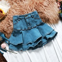 2019 summer new denim skirts ruffles slim sexy short lady jean blue skirts top quality