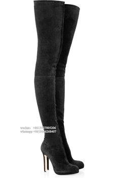 Black Elastic Designer Suede Leather Platform Pointed Toe Thigh High Heel Boot Women Winter Boots Slim fit Long Gladiator Booty