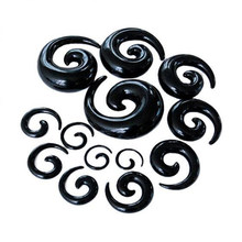 1pc Ear Expansion Fashion Ear Plug Acrylic Black Cute Animal Snails Spiral Ear Stretcher Expander Sexy Body Piercing Jewelry(China)