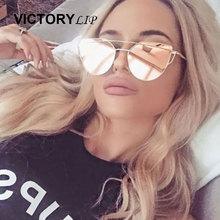 VictoryLip 2016 Cat Eye Женщины Солнцезащитные Очки Марка Дизайн Высокое Качество Плоская Линза Vintage Shades Женщин Cateye Зеркало Солнцезащитные Очки