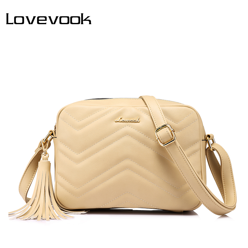 LOVEVOOK shoulder messenger bags for women crossbody bag PU female small handbag and purse with tassel fashion zippers designer