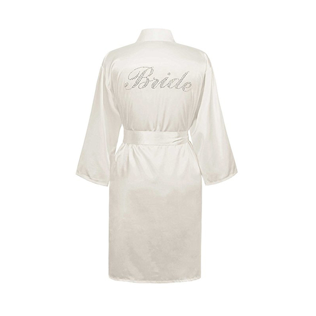 Bridal Yukata Satin Wedding Robes With Clear Rhinestones-Bride Bridesmaid  Edition Women Faux Silk Kimono Robe Wedding Bride Robe 5fa7f58d7