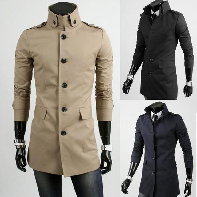 2016 Venda de Poliéster Cheia Homens Longo Inverno Trench Coat Clássico Single-breasted Collar Boutique dos homens do Algodão do Ajuste Blazer Hot