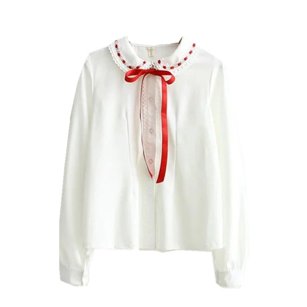 Білі шифонові сорочки з червоною - Жіночий одяг